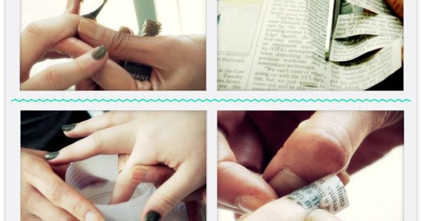 Newspaper Nail Tutorial can use scrapbook paper too