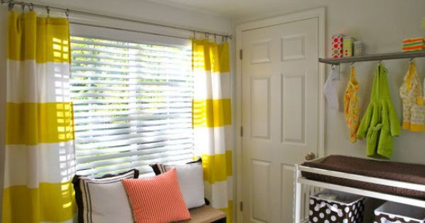 love these yellow striped curtains