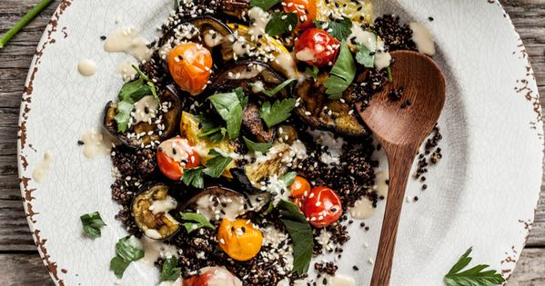Roasted eggplant summer squash salad with tangy miso ...