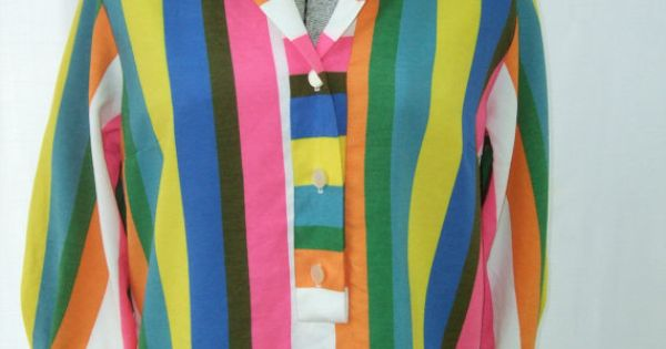 vintage 1960s blouse womens bright vibrant by