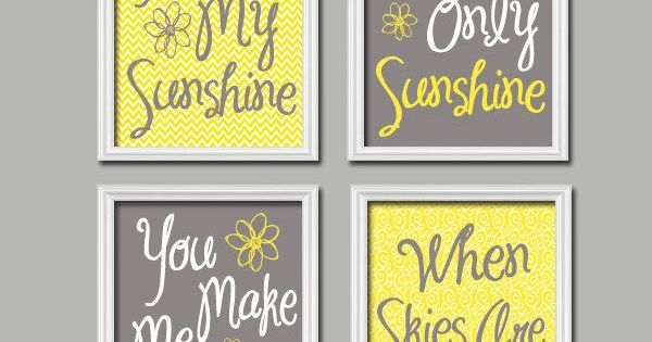 Cute Yellow Grey You Are My Sunshine Quote Nursery Song Print Artwork