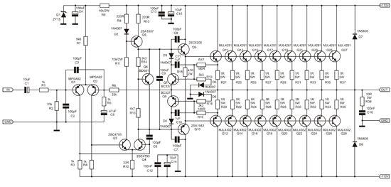 1000 watt amplifier apex 2sc5200 2sa1943 | audio amplifier, electronics  circuit, circuit diagram  pinterest