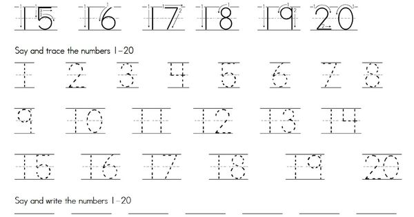 tracing numbers 1 20 with directional arrows handwriting pinterest numbers arrows and math. Black Bedroom Furniture Sets. Home Design Ideas