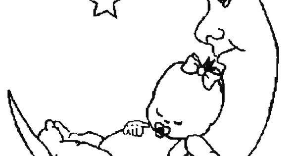 Platvoet Kleurplaat Kleurplaat Van Een Baby Ligt Te Slapen Op De Maan