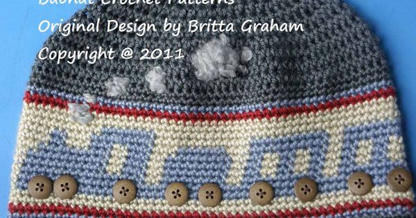 Choo Choo Train Crochet Hat Pattern No.402 FOUR Sizes DK Weight Yarn ...