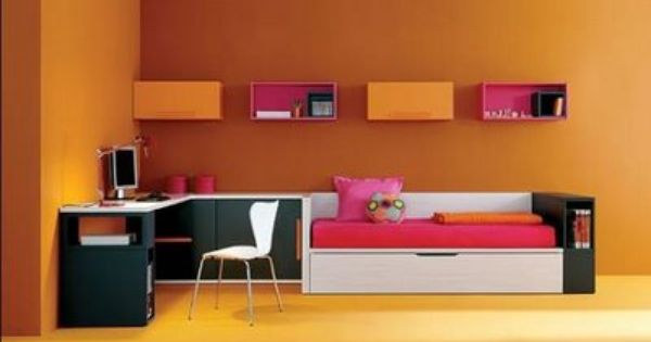 Dormitorio juvenil color mandarina negro y fucsia - Mandarina decoracion ...