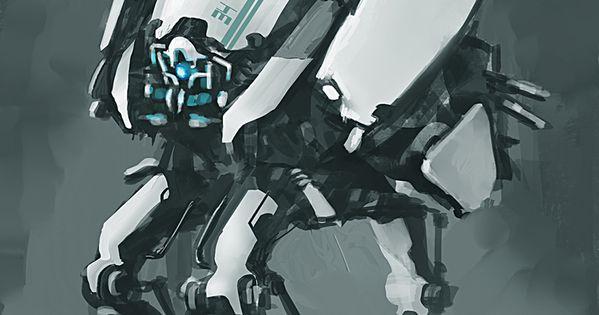 concept robots: Robot concept art by Takumer Homma