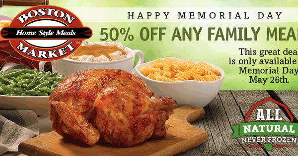 boston market memorial day special