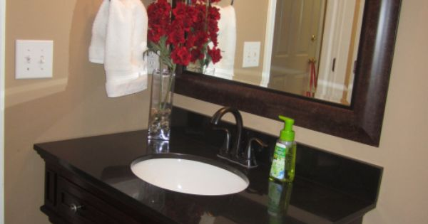 Color Behr Burnt Almond Sink Mirror Half Bath Redo