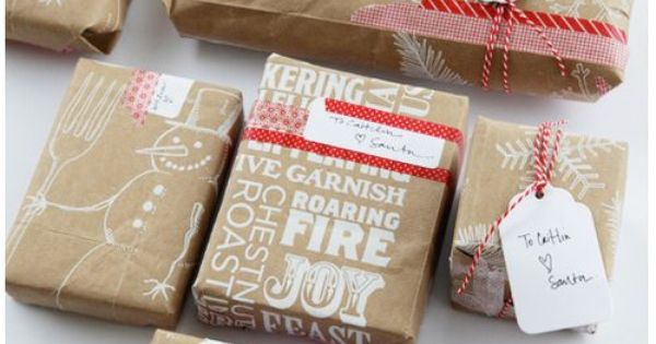 24 Beautiful Gift Wrapping Ideas - Trader Joe's bag as wrapping paper!