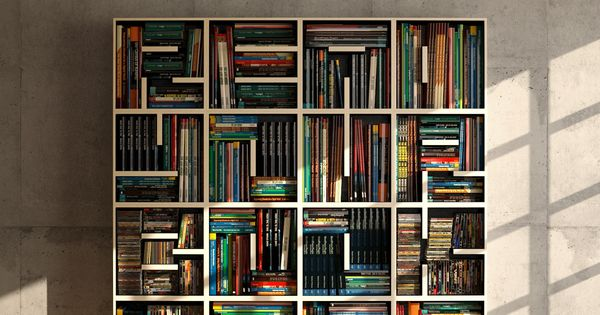 """read your book case"". alphabet bookcase by eva alessandrini and roberto saporiti"