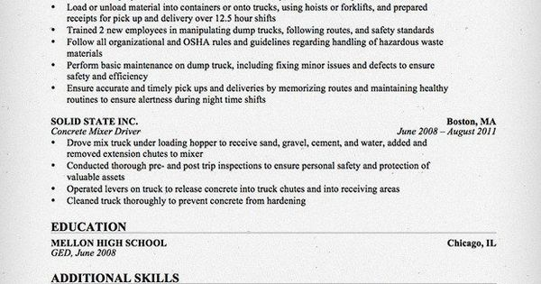 Truck Driver/Trucking Resume Template For Free Download