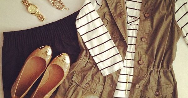 white striped long sleeve tee, black skirt, army green vest, nude flats.