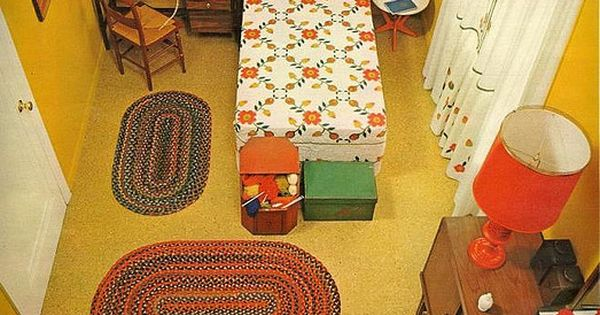 Retro bedroom - From Seventeen Magazine, March sewing machine, knitting box, corded