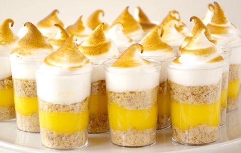 Lemon Meringue Pie Dessert Shooters. recipe via http://honestcooking.com/lemon-meringue-pie-shooters/