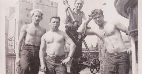 USN Navy Vintage 1940s Snapshot Photo of Shirtless Men on ...