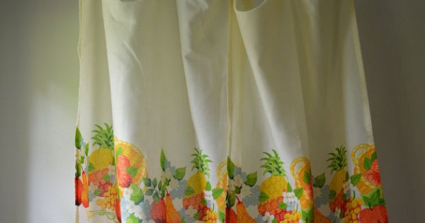 Vintage Curtain Panels 1970 39 S Kitchen Curtains Fruits And Flowers White With Orange Yellow And