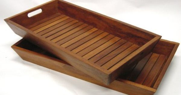 Set of 2 nesting solid teak serving storage trays for Bathroom tray for toiletries