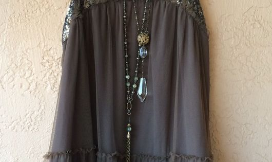 735020dc9194 Free People Gypsy violet taupe beaded key hole back with embroidery layers  of ruffles