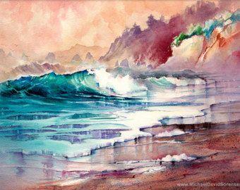 Sailor S Delight Sunset Ocean Watercolor Painting Print Beach