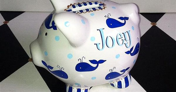 Personalized piggy bank whales design in blue size by preppypiggy whale baby - Nautical piggy banks ...