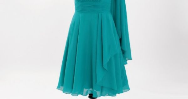 Stunning one shoulder ruched chiffon made dress with shoulder train | See