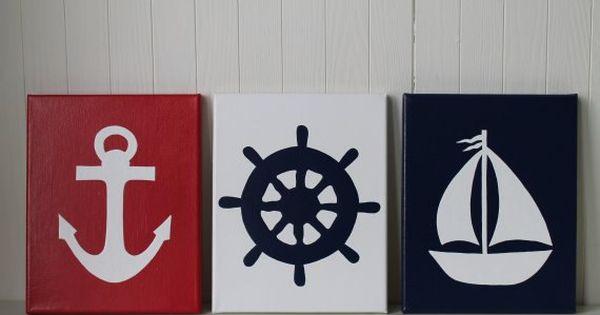 Nautical Wall Decor Pinterest : Nautical nursery decor painting sailboat ship s