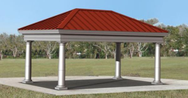 Neo Classic Hip Roof Rectangle Poligon Steel Park Shelters Shade Structures Shade Structure Hip Roof Outdoor Structures