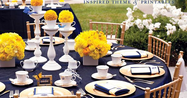 Navy Blue and Yellow- Royal Wedding