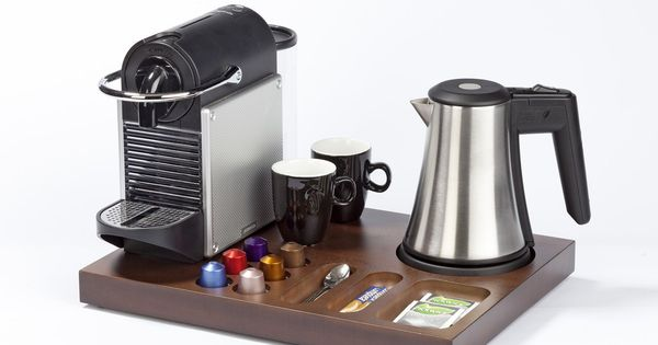 Wooden welcome tray for coffee machine presentation in hotel rooms by Bentley Europe Bentley ...
