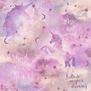 Arthouse Galaxy Unicorn Blush Multi Wallpaper 10 05m X 53cm Pink Unicorn Wallpaper Unicorn Wallpaper Glitter Wallpaper