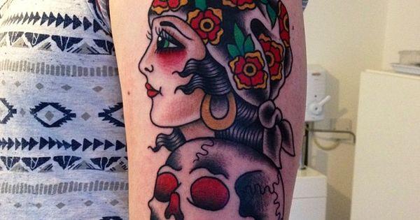 American traditional gypsy and skull tattoo matt chahal - Tatouage gitane signification ...