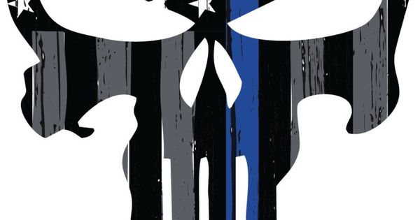 Thin Blue Line Punisher Skull Decal By