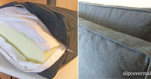 Foam Cushion Insert With Down Wrap For Denim Slipcovers