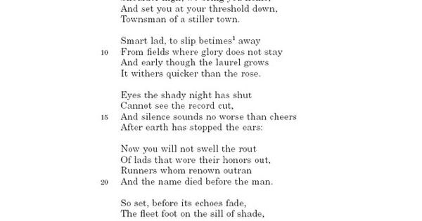 To An Athlete Dying Young ~ A.E. Housman