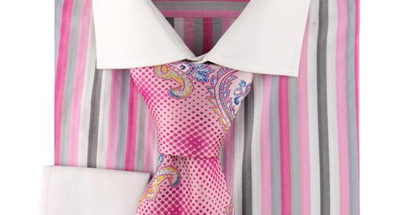 Steven Land Dress Shirt DS 1168 | Pink $59 #StevenLand #Colors http://stevenland.com 100% Cotton Shirt | Multi Colored Stripe | White Spread Collar | French Cuff | Hidden Placket (Tie Sold Separately)