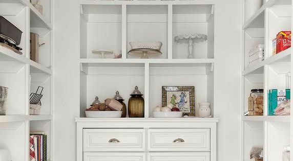 Beautifully Organized Kitchen Pantry Features White Built