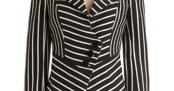 Fashion Panel Blazer - Short, Work, Menswear Inspired, Urban, Black, White, Stripes,