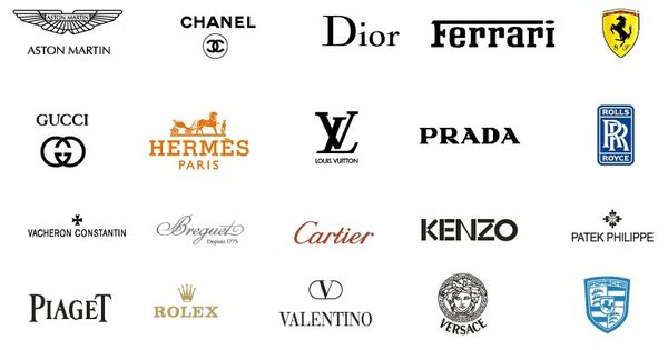 Collection of vector international fashion brands logos for International decor brands