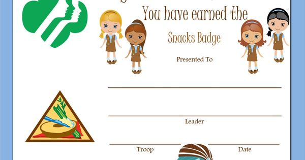 snack badge certificate daisy troop pinterest awesome brownies and pinterest board. Black Bedroom Furniture Sets. Home Design Ideas
