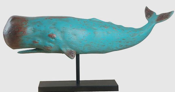 Sculpture Huge Blue Folk Art Whale On Metal Base 30 Inches