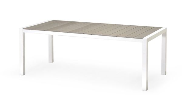 Table de jardin rectangulaire en durawood blanc sable for Ikea table rectangulaire