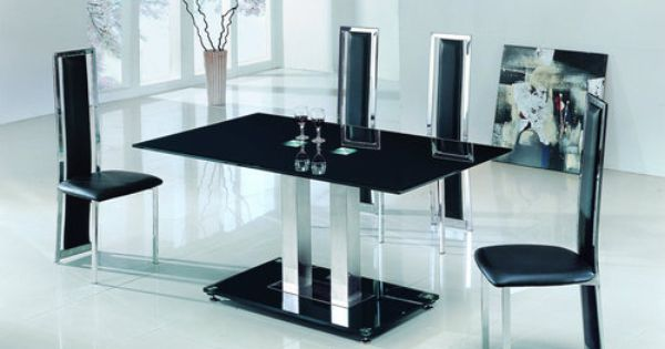 Savio small glass chrome dining room table and 4 chairs for 120 inch dining room table