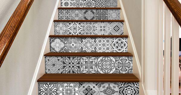 Escalier portugais carreaux sticker de d coration pour - Stickers pour carrelage cuisine ...