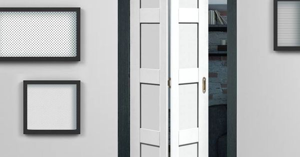 Shaker white primed 4 panel bifold door doors interior door and interiors - Shaker bifold closet doors ...