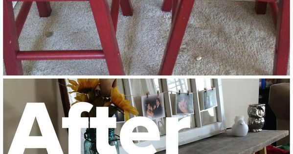 Diy Sofa Table 2 Stools Painted With 2 Coats Of Paint Amp A