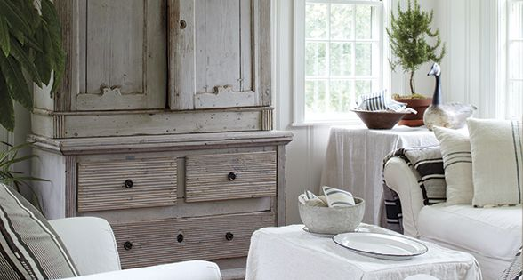 gray weathered armoire
