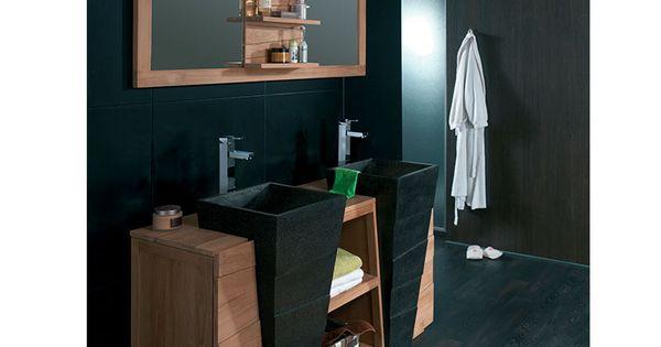 Vasque double noire collection komodo id es pour la for Salle de bain komodo