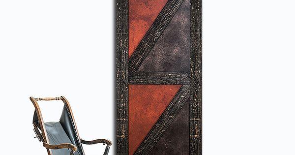 Porte de grange coulissante en cuir r cup r de style for Decoration porte de grange