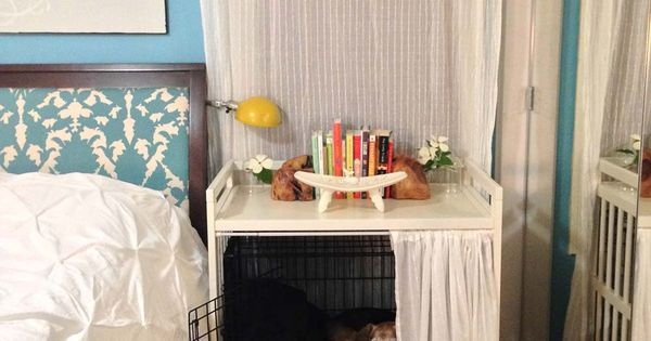 Dog Crate Under Table For 2nd Bedroom Ikea Hacks Pinterest Bedside Tables Dogs And Crates